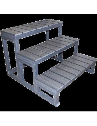Escalier 3 marches en composite gris - noir - brun